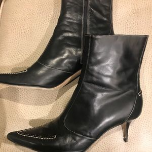 Cole Haan black leather boots w/ white stitching